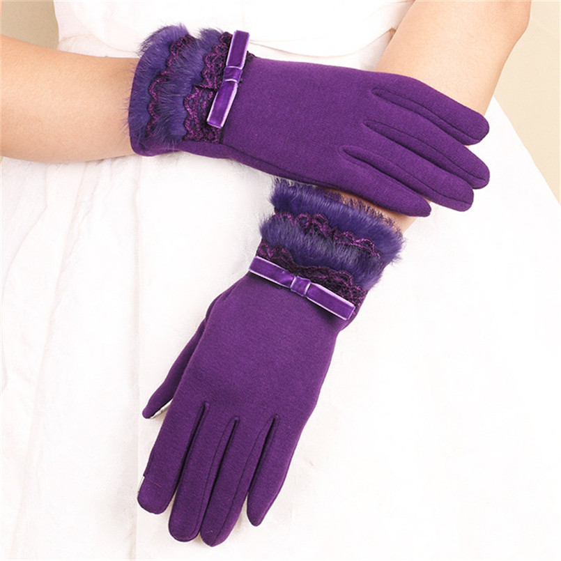1 Pair Ladies Cashmere Touch Screen Gloves Full Finger Autumn Winter Warm Rabbit Fur Lace Driving Gloves Elegant Purple Gloves