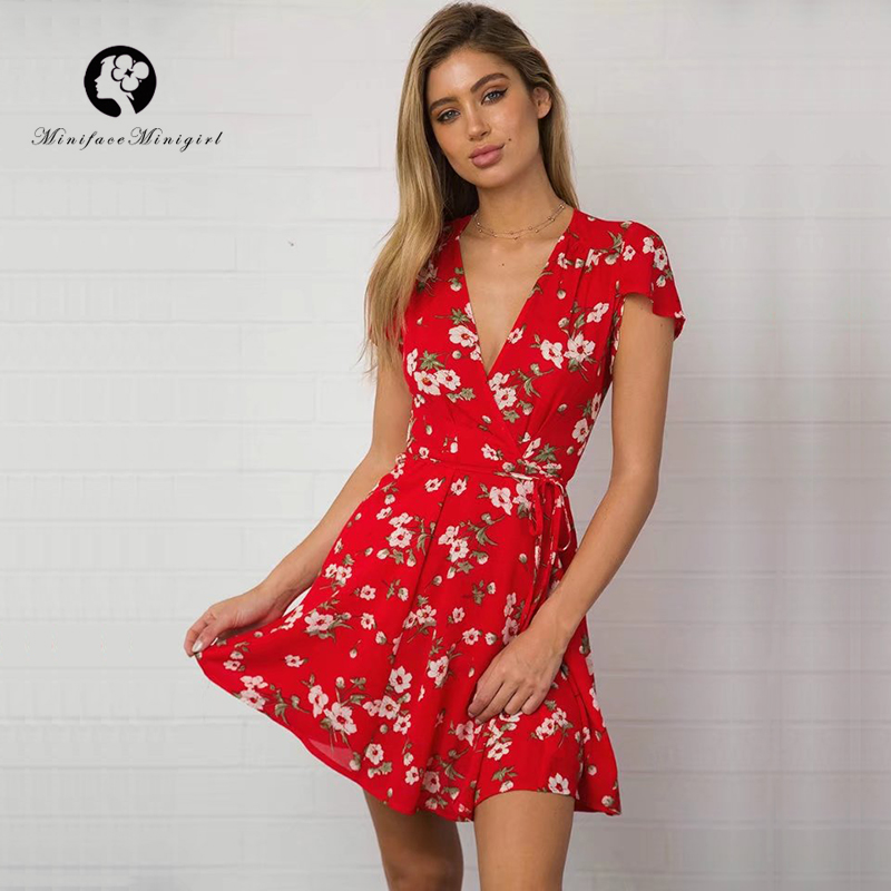 V Neck Sexy Red Summer Short Women Dress 2018 New Floral Print Robe Femme Dresses with Sashes Casual Mini Dress Beach