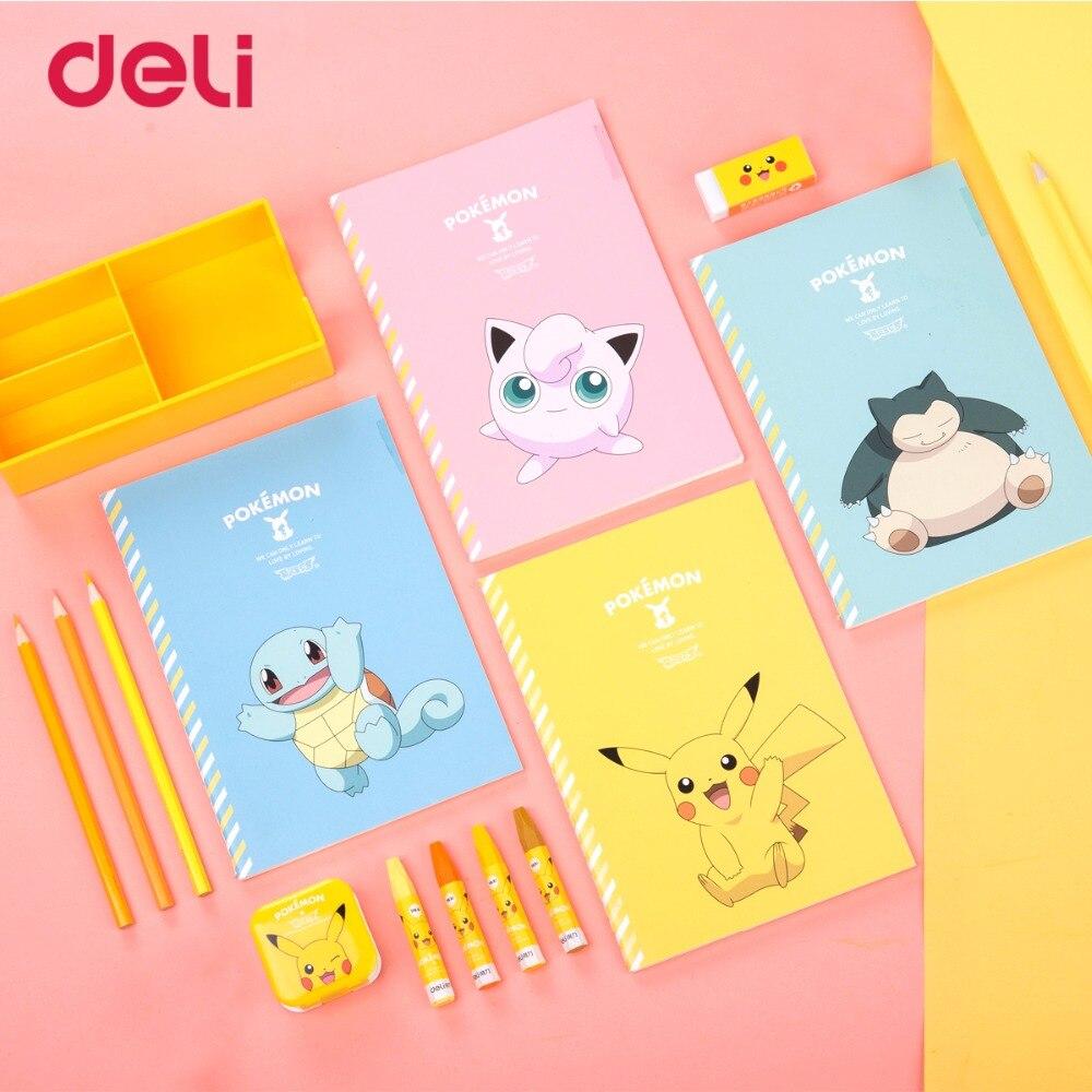 505 36 De Réductiondeli Pokemon Couture Reliure Cahier Papier Mignon Pikachu Quatre Couleurs Dessin Animé Journal Portable Kawaii Livre école