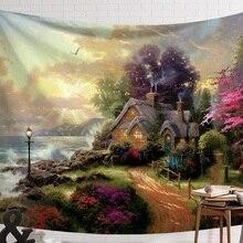 CAMMITEVER фантастический живописный домик в лесу, зеленый светильник, большой красный гриб, висящий в гостях, настенный гобелен, украшение, гобелен
