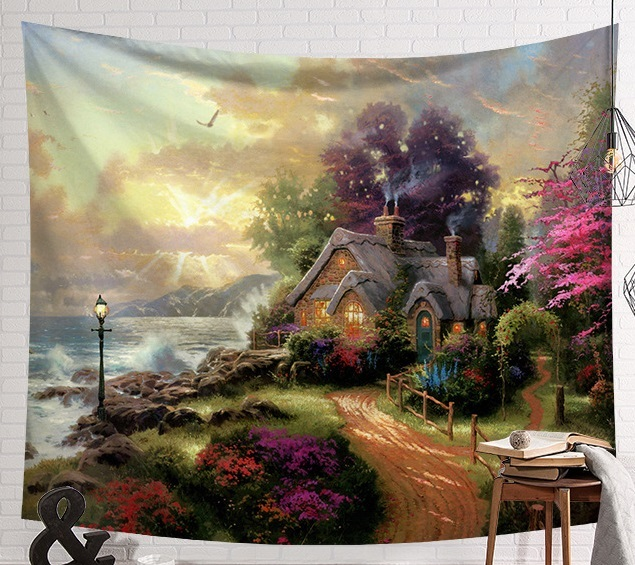 CAMMITEVER Fantastic Scenic Forest Cabin Green Light Big Red Mushroom Hanging Living Print Wall Tapestry Decoration New Tapestry