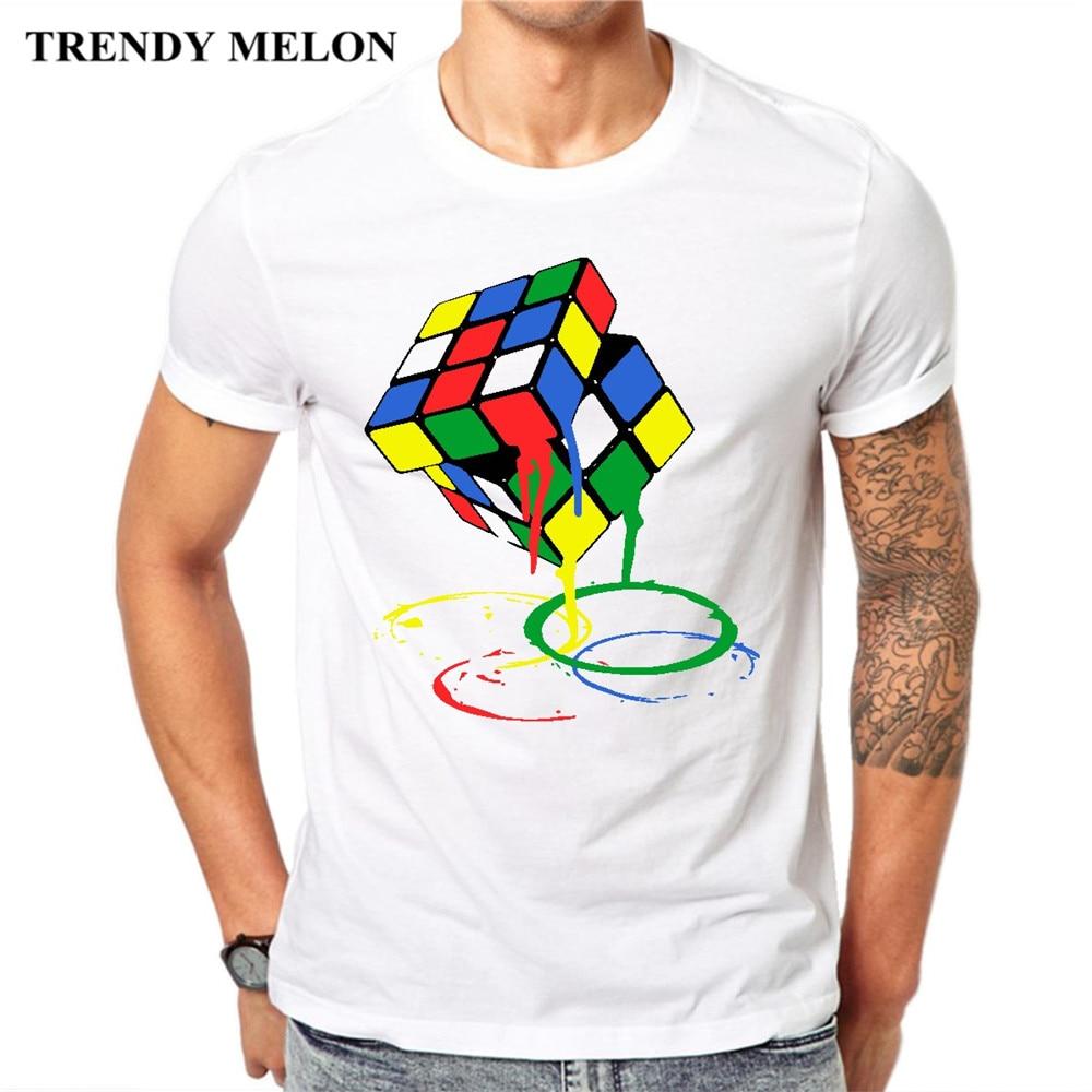 Moda melón moda hombres camiseta cubo Rubik meltdown