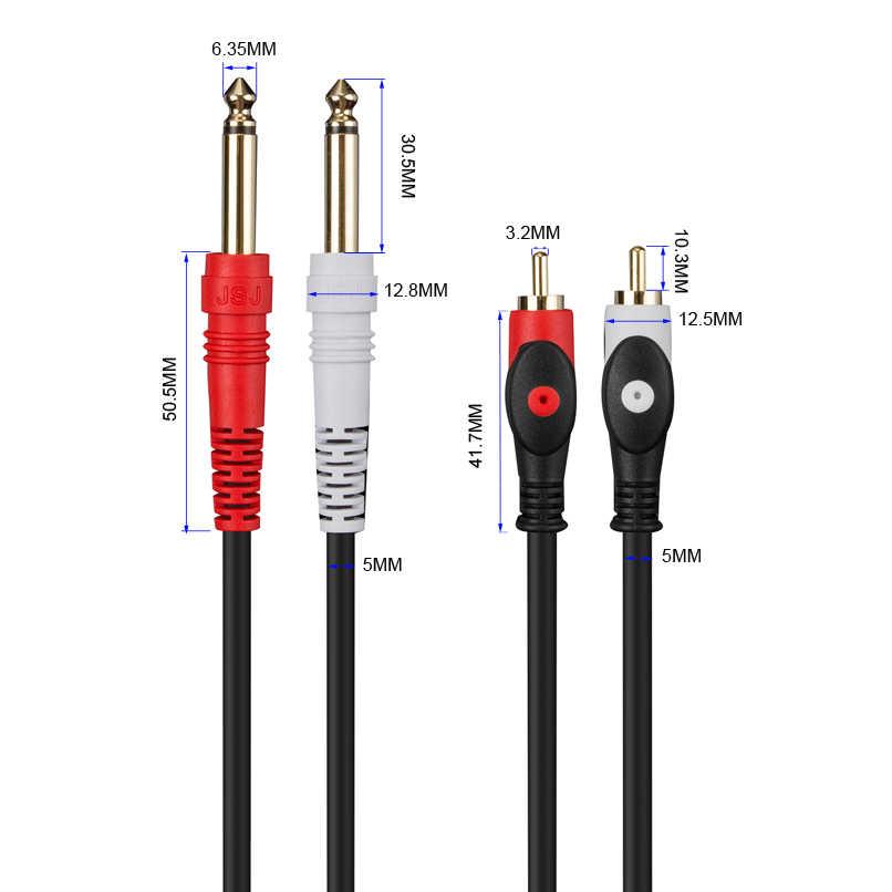 """Аудиокабель Audiophile Dual 6,35 мм 1/4 """"моно штекер на двойной RCA для микшера усилитель микрофонный динамик музыкальный инструмент кабель"""