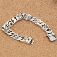 Large Wholesales S925 Sterling Silver Fashion Retro Thai Silver Men Cross Military Flower Personality Trend Bracelet