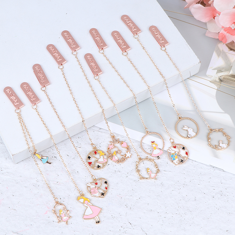 1PC Kawaii Pendant Book Markers Metal Bookmarks For Books School Office Supplies Creative Gifts Stationery Cute Rabbit Bookmarks(China)