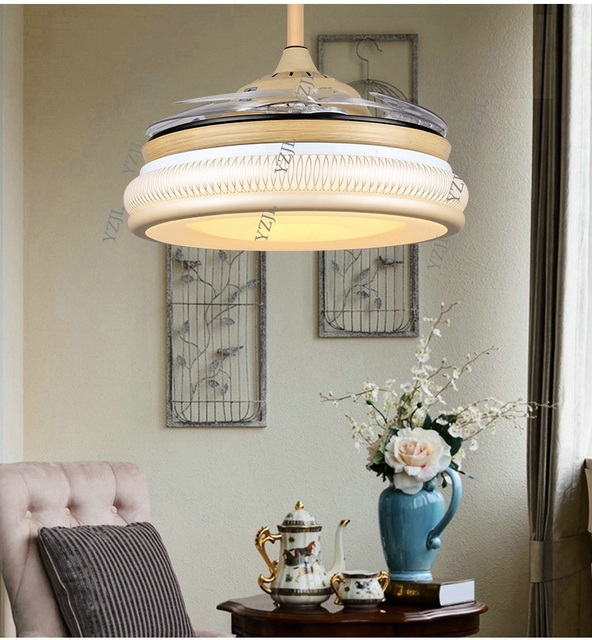 Continental Hidden Frequency Fan Light Chandelier With Remote Control Led Living Room Bedroom