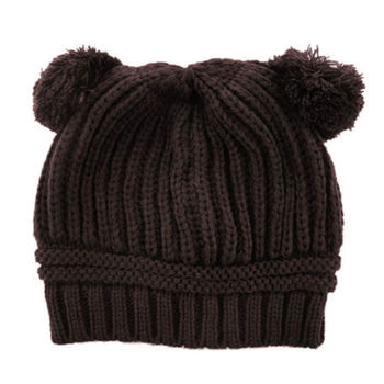 Baby Girls Boys Beanie Hats Kids Children Dual Ball Knit Sweater Cap Hats Winter Warm Knitted hats