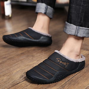 Image 5 - 2020 Shoes Men Winter Slippers Warm Waterproof Canvas Shoes With Fur Plus Size 39 48 Outside Slippers Casual Rubber Non slip
