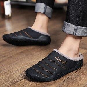 Image 5 - 2020 buty męskie kapcie zimowe ciepłe wodoodporne płócienne buty z futerkiem Plus rozmiar 39 48 zewnętrzne kapcie dorywczo gumowe antypoślizgowe