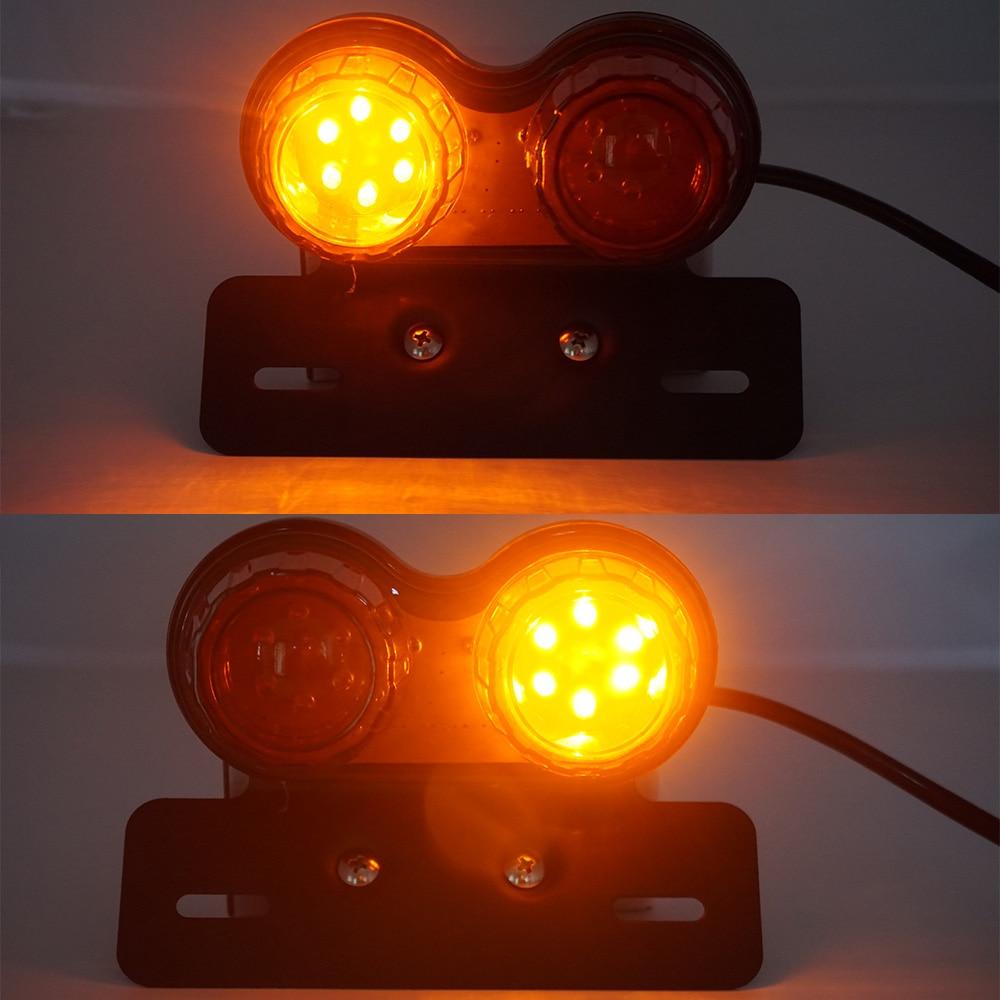 Image 3 - Universal Motorcycle LED Taillight Custom Motorbike Rear Stop  Brake Lamp License Plate Light Turn Signal Indicators for BMW  -
