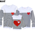 Famli 1pc Father Mother Kids Matching T-shirts Mom Dad Son Daughter Casual Full Striped Cotton Shirt Famille Vetements Assortis