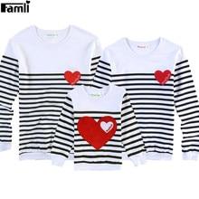 Famli – T-shirts Assortis pour père, mère et enfant, en coton, à rayures complètes, pour la Famille, 1 pièce