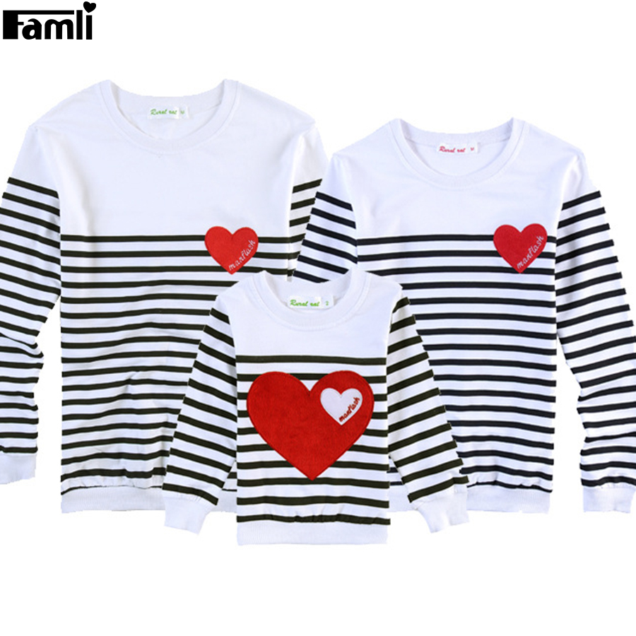 Famli 1pc Father Mother Kids Matching T-shirts Mom Dad Son Daughter Casual Full Striped Cotton Shirt Famille Vetements Assortis ...