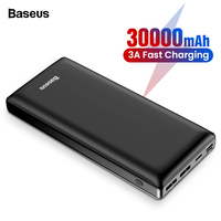Baseus 30000mAh Power Bank For Samsung S10 S9 Xiaomi mi 9 30000 mAh Powerbank USB C Portable External Battery Charger Poverbank