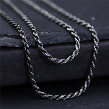 C&R Real 925 Sterling Silver Necklace Mens and womens 2mm width long sweater chain necklace Thai silver Fine Jewelry