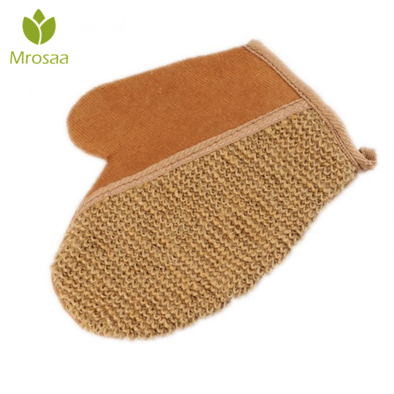 Mrosaa Bath Glove Shower Flax Glove Body Massage Glove Back Scrub Coffee Color Exfoliating Scrubber for Body Cleaning