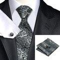 SN-209 Gris Negro Paisley Corbata Hanky Gemelos Juegos de Los Hombres 100% Corbata de Seda para hombres Formales Del Banquete de Boda Del Novio