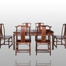 Длинный Комплект для офисного стола 1 доска и 6 Chiars мебель из розового дерева Китай неоклассический Рабочий стол из массива дерева кресло Annatto модный набор