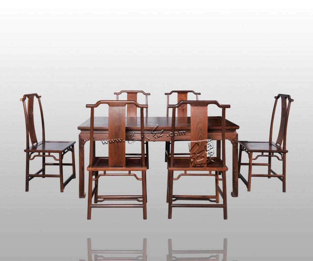Long Office Table Set 1 Board & 6 Chiars Rosewood Furniture China Neoclassical Solid wood Desk Annatto Armchair New Fashion Set