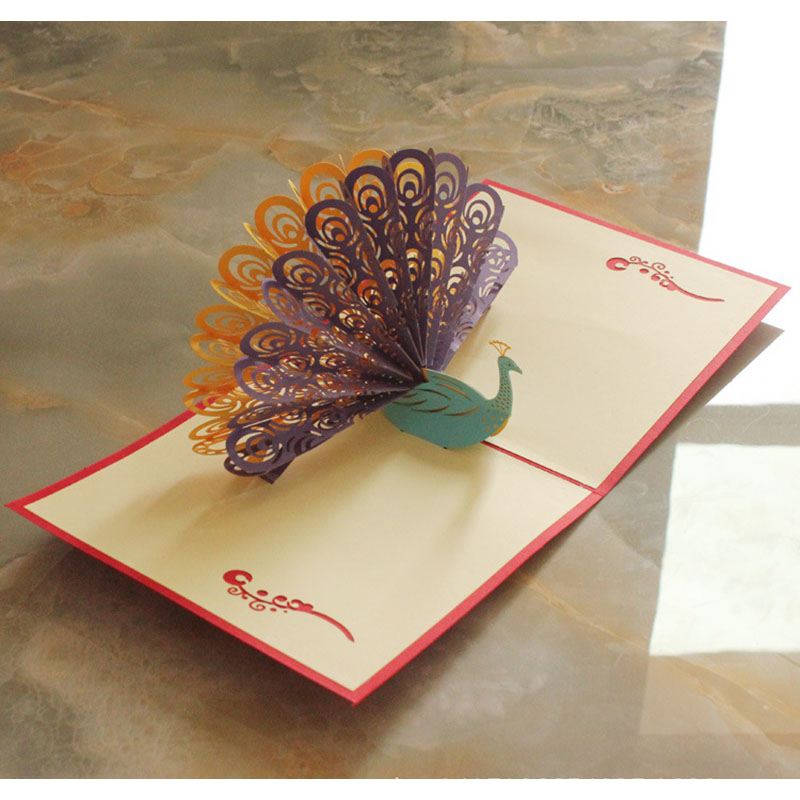 Creative Embossing  Peacock Folder Invitation Card DIY Album Card Making Paper Greeting cards Craft Gift Decoration Tools retro hollow kraft paper greeting card creative business gift card father s mothers day blessing card wedding cards 10pcs pack