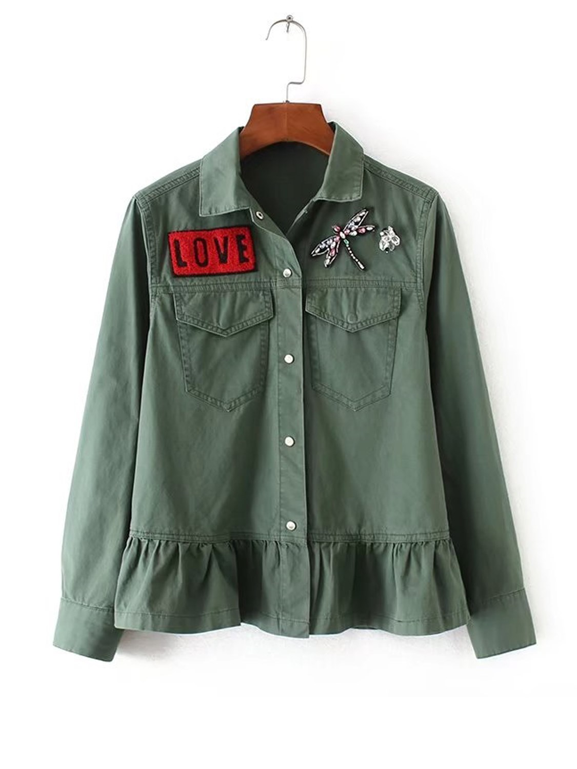 Fashion Army Green Letter Patch Dragonfly Beaded Ruffle Hem Coat Casual Button Lapel Long Sleeve font