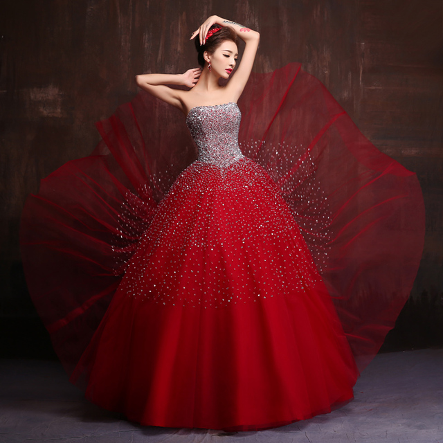 fe199eb77ee Vestido De Debutante Quinceanera Dress Ball Gown Red Navy Blue Sequined  Beading Tulle Girls 15 Years