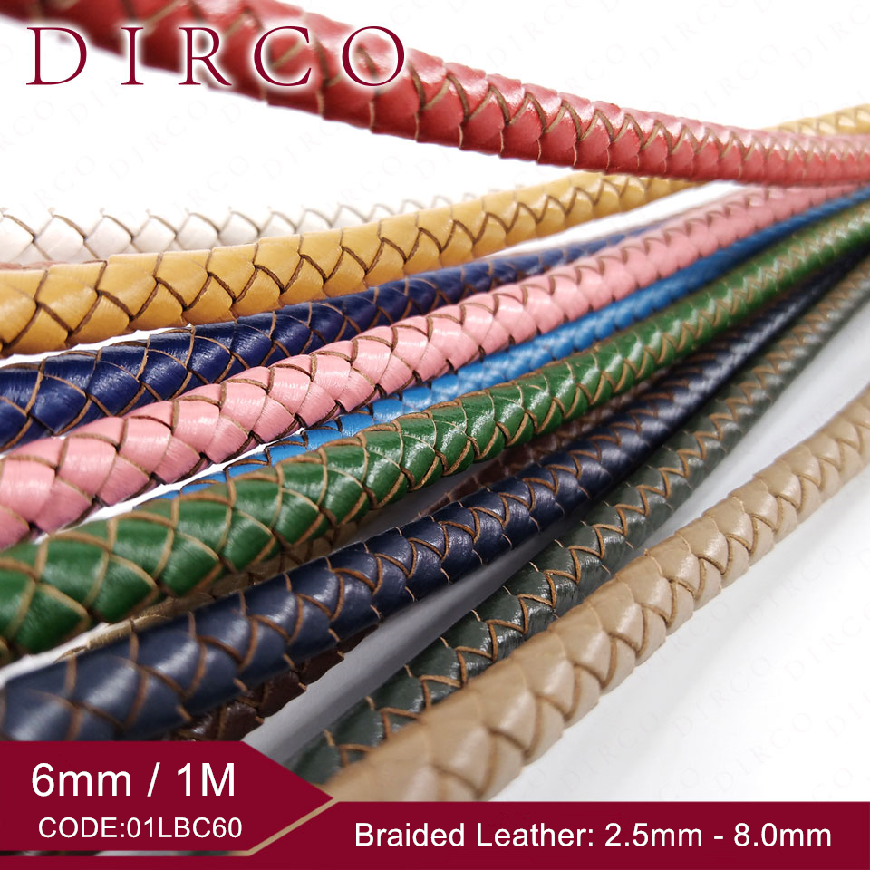 6mm 1M/Roll Woven Leather Cutting Cowhide Split Genuine Round Braided Leather For Bracelet