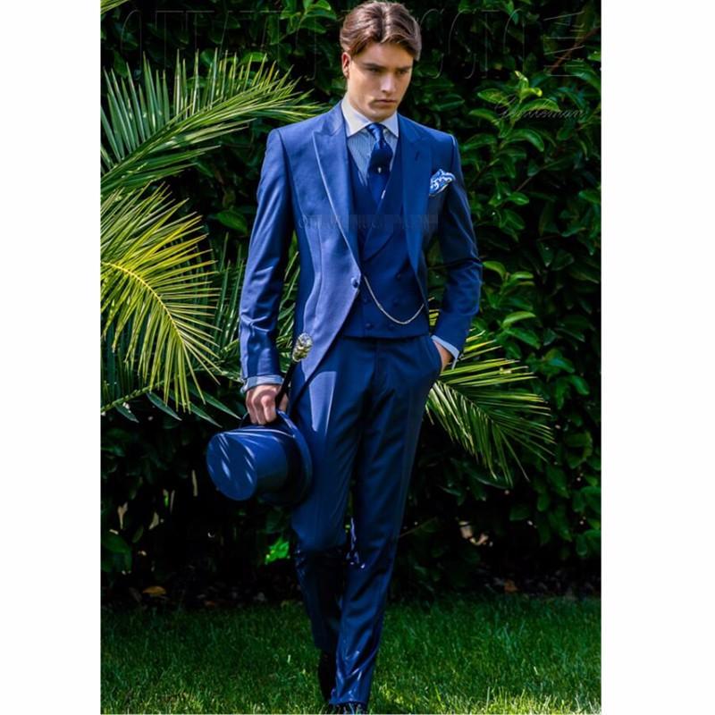 35.1 Royal blue men suit lapel fashion style wedding groom suit handsome formal occasion dress custom-make lapel men suit