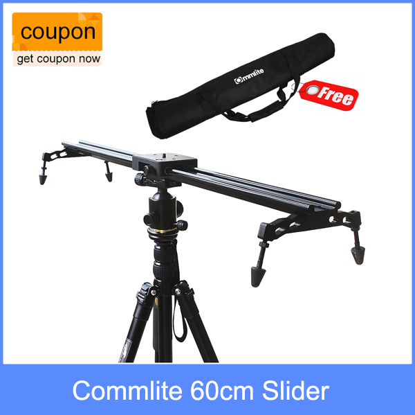 New Professional Portable Commlite 60cm / 24 Sliding-pad Video Camera Track Slider Dolly Stabilizer System for DSLR Camcorders double track design wh60r 60cm 23 6 inch portable dslr dv camera damping track dolly slider video stabilizer system