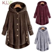 fe15ff0f7 Mulheres Jaqueta de Inverno Quente Com Capuz Botão Solto Longo 2018 Plus  Size Senhoras Chamarra 18Nov22
