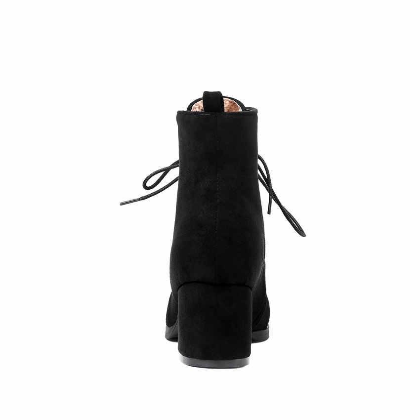 ESVEVA 2019 Kışlık Botlar Lace Up Kadın Çizmeler Kare Yüksek Topuklu Ayakkabılar Kadın Akın yarım çizmeler Dikiş Ayakkabı Yuvarlak Ayak Boyutu 34-43