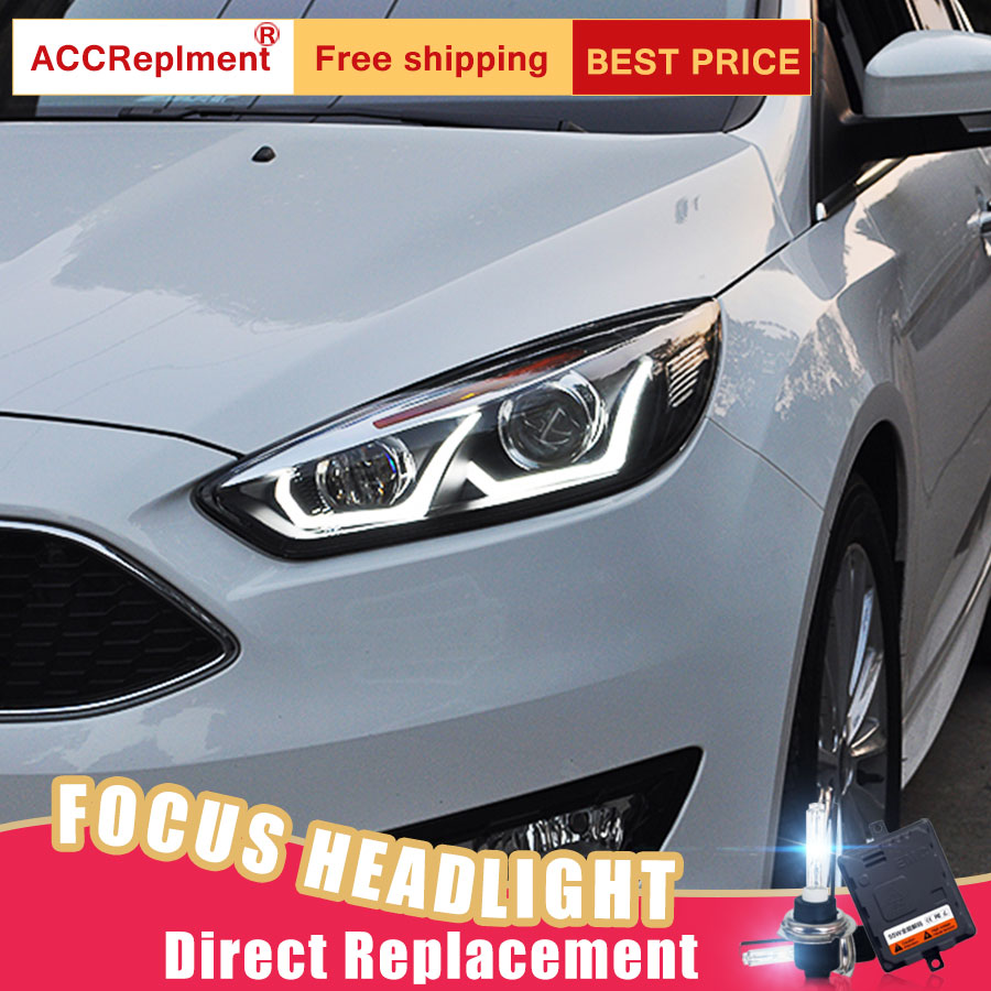 2pcs Led Headlights For Ford Focus 2017 Car Lights Angel Eyes Xenon Hid Kit Fog Daytime Running In Light Embly From