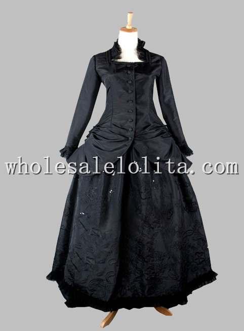 Deux Soie Pièce Victorienne Thai 90 Gothique Agitation Dress Noir 1870 rICrqAw