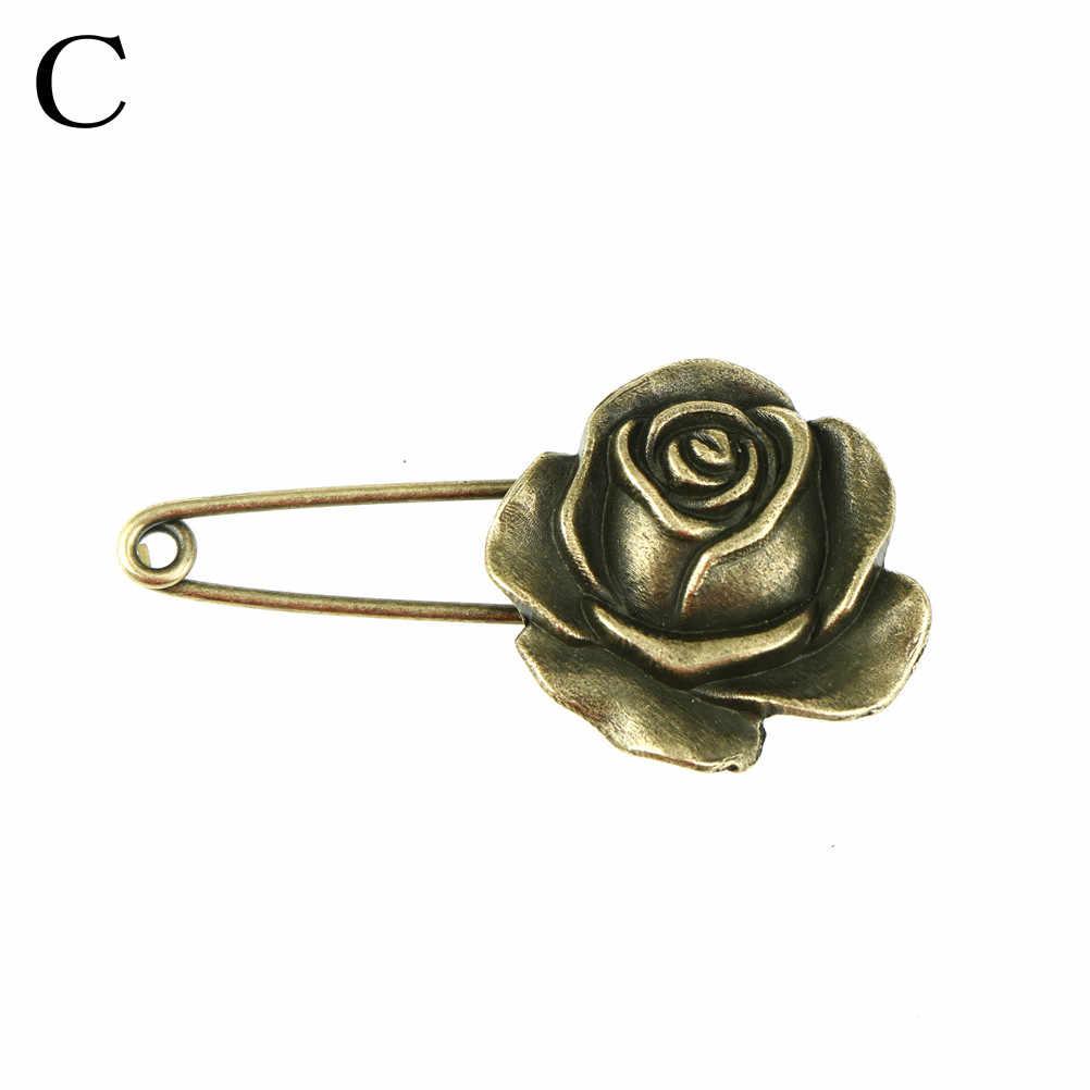 Rose Bunga Panjang Pin Pengaman Vintage Pin Bros Bentuk Burung Hantu Ornamen untuk Syal Sweather Lapisan Tas