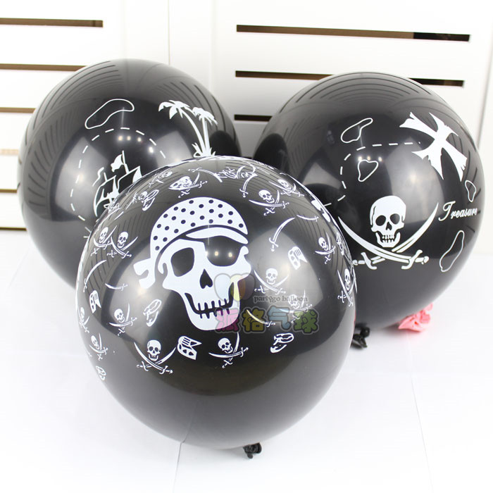 100pcs/lot 3.2g 12inch Black color Halloween Skull designs printed Latex balloon