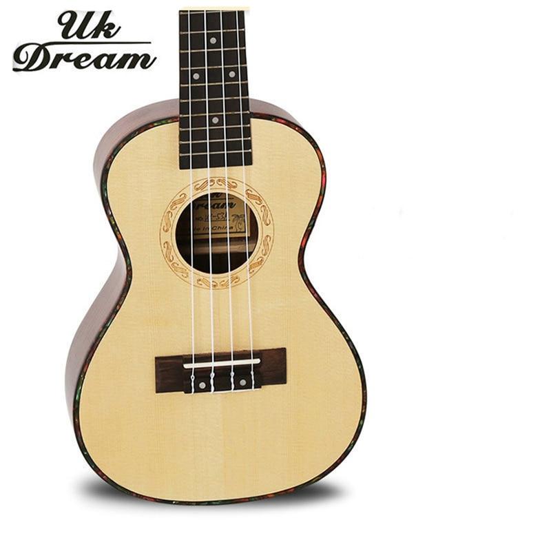 23 pouces haute qualité en bois guitare acoustique Instruments de musique 4 cordes 17 frettes guitares épicéa palissandre placage ukulélé UC-53A