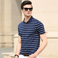 2016 New summer fashion classic striped casual business man's short sleeve polo shirt
