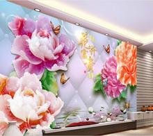 3d壁紙カスタム壁画不織布ウォールステッカー3 d富とhonor牡丹水岩絵画フォト3d壁壁画壁紙
