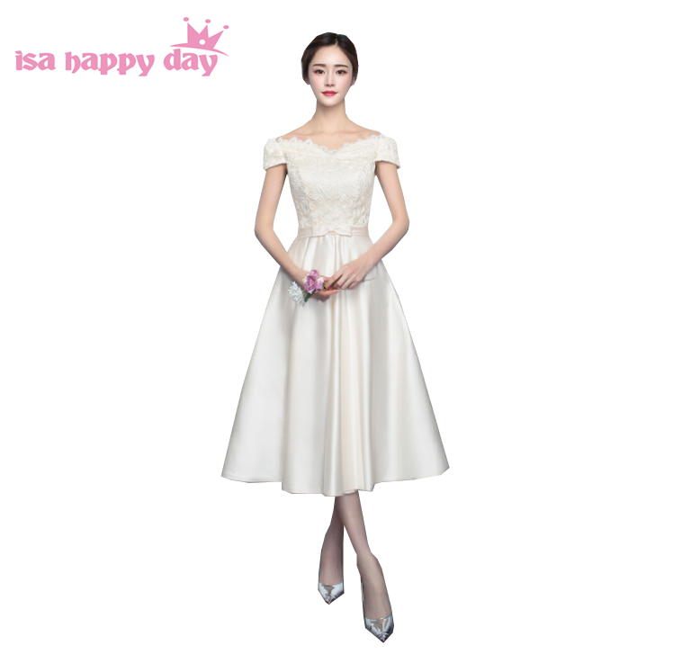 special occasion champagne colored modest elegant short satin sexy prom dresses tea-length gown dress 2020 ball gown H4145