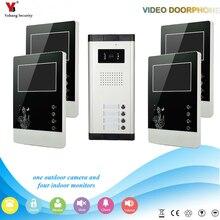 """Yobang Güvenlik Kablolu 4.3 """"Inç Monitör Görüntülü kapı zili Telefonu Interkom Ev Kapısı Giriş Güvenlik Kiti Sistemi 4 Birim daire"""
