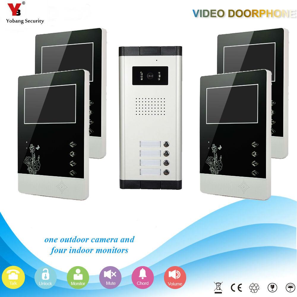 Yobang Security Wired 4.3 Inch Monitor Video Door Bell Phone Intercom Home Gate Entry Security Kit System For 4 Unit Apartment 2015 7 inch wired video door phone door bell system kit home security entry 2 way intercom ir camera
