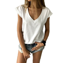 t-shirt women summer Casual Solid color Short sleeves V-Neck tee shirt women top femme vogue t shirt top snap fastener embellished color spliced v neck short sleeves t shirt for men