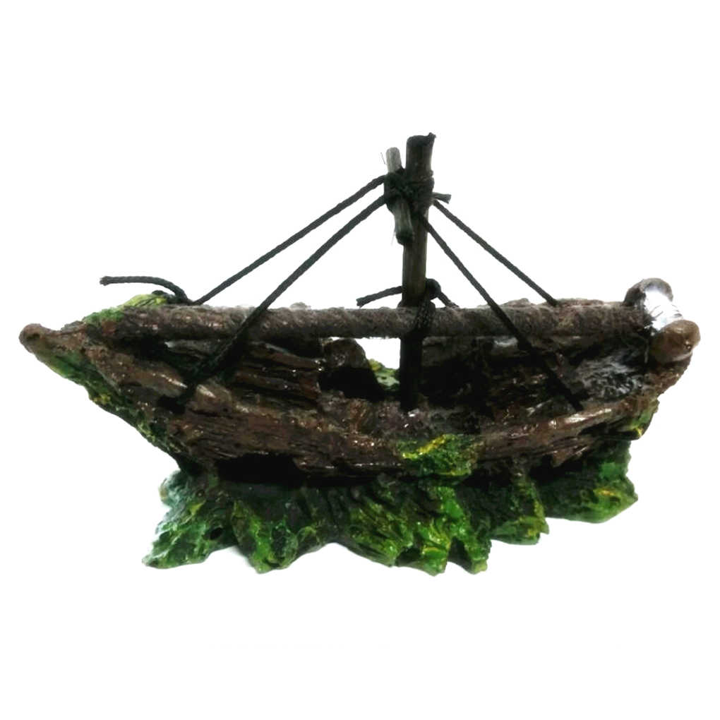 Decoración de Barco Pirata oxidado para acuario Adorno para acuario 13*5*10CM