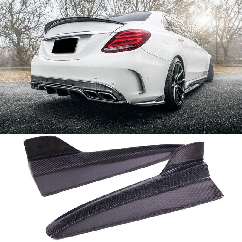 F D Style Carbon fiber Rear Lip Splitter Rear Side Valences For BENZ 4 Door W205