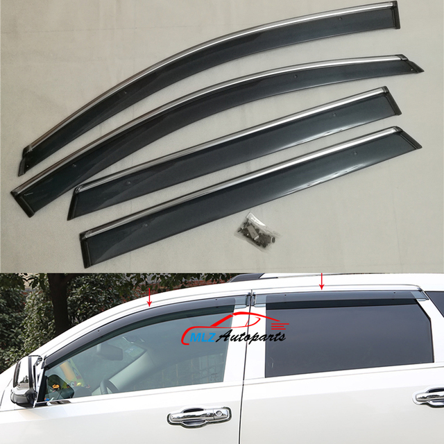 Door Side Window Visors Wind Deflector Molding Sun Rain Guards With Stainless Trim Shield For Dodge & Door Side Window Visors Wind Deflector Molding Sun Rain Guards With ...