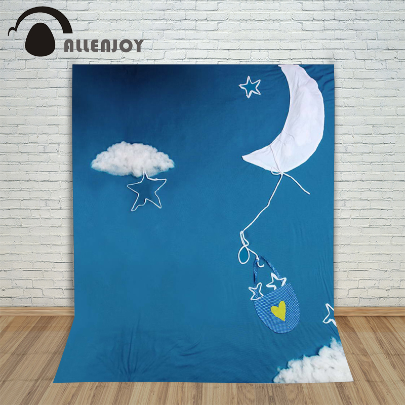 5ftx7ft baby Photography Backdrop cartoon clouds moon sky blue cloth imitation fabric background for photography Allenjoy studio 5x7ft fabric backdrop photography background beautiful heart shape clouds