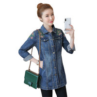 Jeans Jacket Women Denim Coat Spring Floral Embroidery Jacket Coat Female Plus Size Jeans Jacket Women Denim Ladies Tops Q1354
