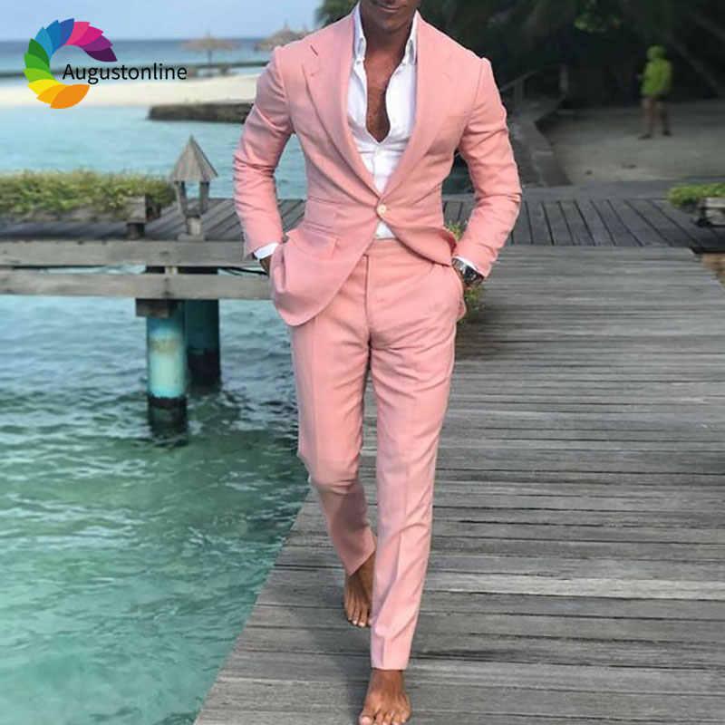 最新のデザインリネンスーツパンツスリムフィット新郎ウェディングスーツクラシック男ブレザージャケットピークラペル衣装 2 ピース