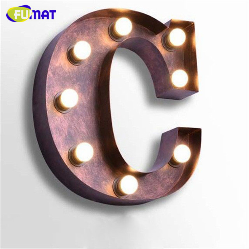 FUMAT Iron Art Deco Sconces Vintage Letters C Wall Lamps Creative Logo Wall Light Hotel Restaurant Bar Cafe Wall Light Fitting