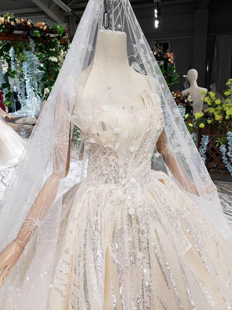 HTL388 boda special strapless wedding dress with wedding veil sleeveless sexy princess bridal dresses shiny robe de mariage 2019 (13)